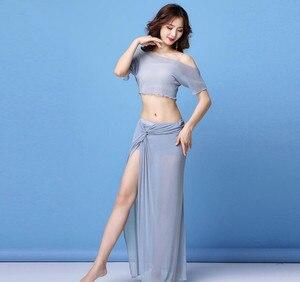 Image 4 - Traje de danza del vientre transparente para mujer, Falda larga de 2 piezas, ropa de práctica de bailarina, Ropa de baile de equipo, ropa de Baile Oriental