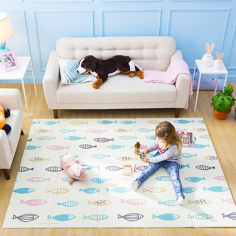 все цены на QWZ Baby Folding Play Mat Crawling Pad Puzzle Blanket Thickened XPE Living Room Floor Mat Baby Carpet Game Pad Kids Xmas Gifts онлайн