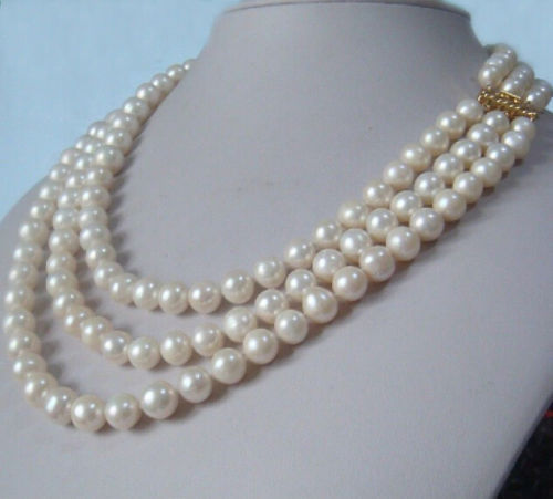 Beautiful Southern Ocean natural whitei pearl necklace 9-10 mm 16-18 inch 14k20