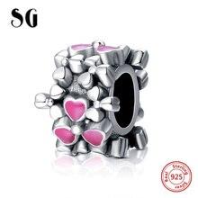 New arrival genuine 925 sterling silver pink enamel flower charms beads fit original pandora bracelet women diy jewelry gift france dyxytwe ladybug pink flower tassel luxury jewelry women gift enamel glaze jewelry