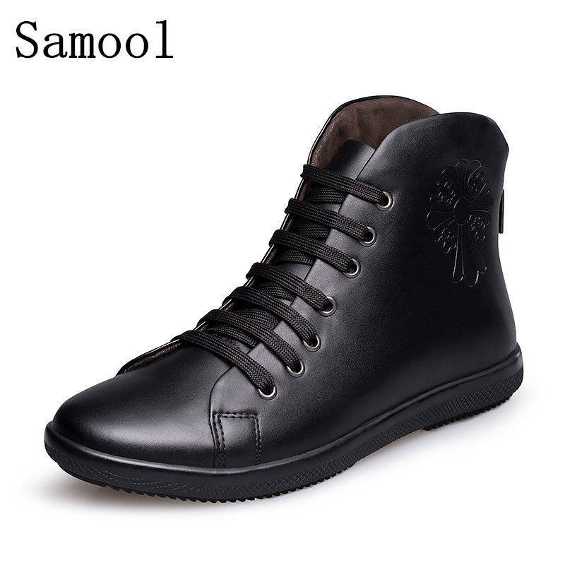 2017 Hot Sale Top Quality Genuine Leather Men Ankle Boots Spring Winter Man Shoes Snow Boot Men's Snow Shoe Work Plus Size 38-47