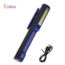 USB COB LED Flashlight Work Light Strong Magnetic Rotation Hook Pen Flashlight Camping Mini Light Lamp Torch with USB Cable