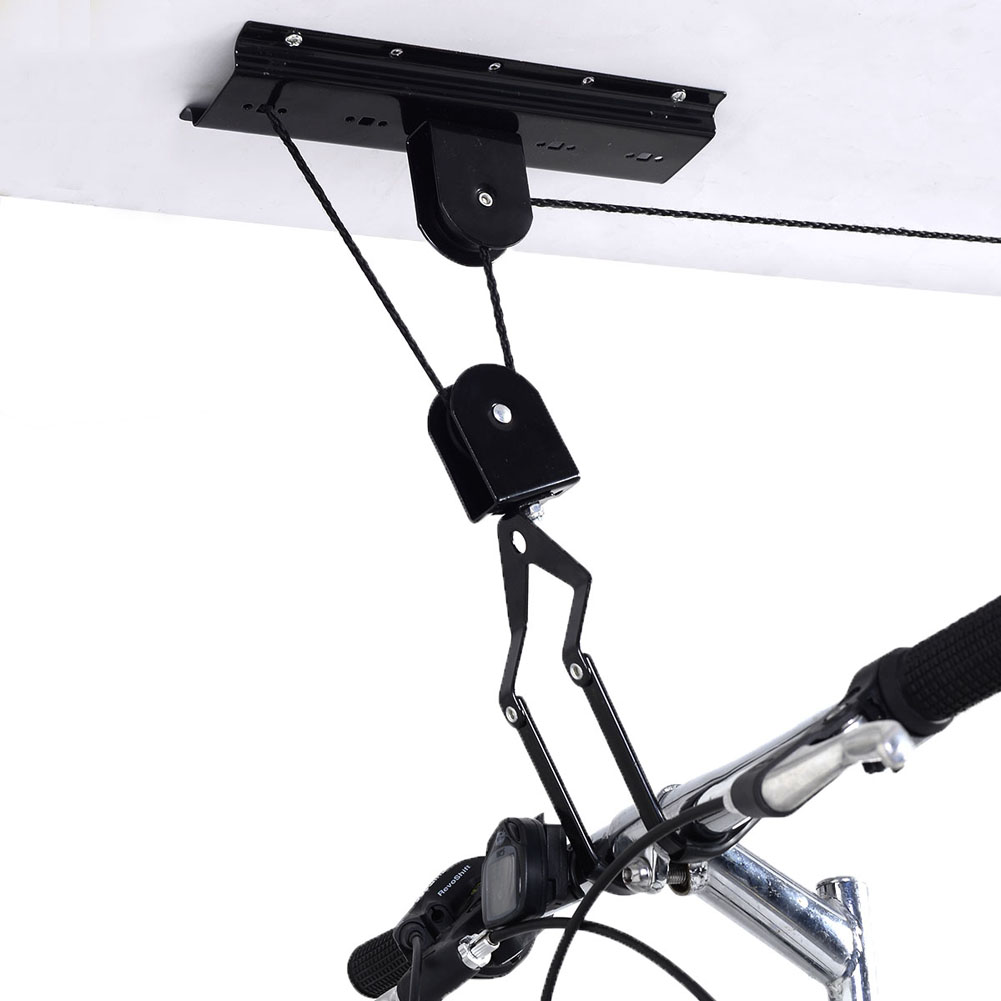 45LB Strong Bike Bicycle Lift Ceiling Mounted Hoist Storage Garage Hanger  Pulley Rack Metal Lift Assemblies Ciclismo Bicicleta In Bicycle Rack From  Sports ...