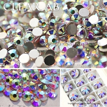 Great quality! AAA Clear AB SS3-SS30 all sizes Rhinestone glitters nail accessoires Non HotFix crystal strass for decor manicure