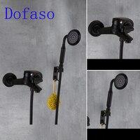 Dofaso simple shower bathroom antique brass black shower faucet Single Handle Bathtub Wall Mount vintage shower set