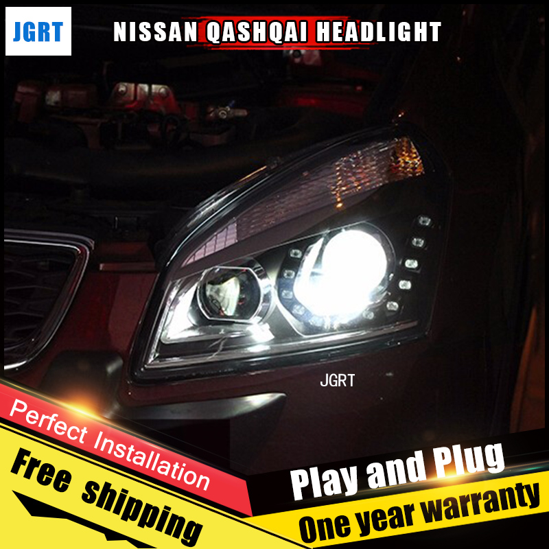 Car Style LED headlights for Nissan Qashqai 2009-2014 for Altima head lamp LED DRL Lens Double Beam H7 HID Xenon bi xenon lens hireno headlamp for 2016 hyundai elantra headlight assembly led drl angel lens double beam hid xenon 2pcs