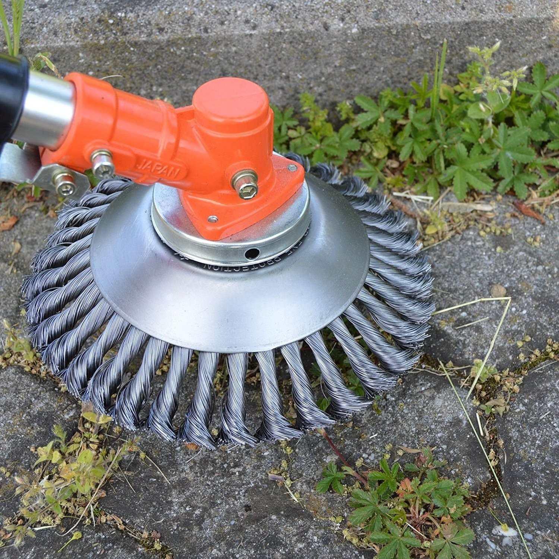 Placa de grama da remoção da poeira do cortador da escova da grama da cabeça do aparador de fio de aço de 200mm para o cortador de grama