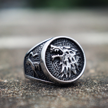 House of Stark Game Thrones Rings Direwolf Wolf Stainless Steel Ring Mens Biker Jewelry