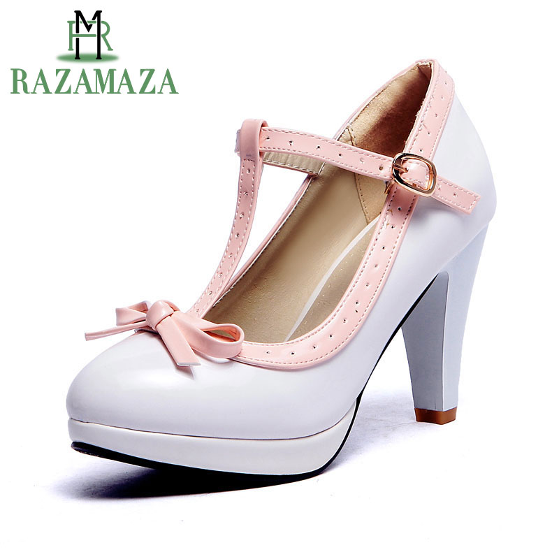 RAZAMAZA Plus Size 32-48 Women Summer High Heels Shoes Woman Fashion T Strap Bow Pumps Lady Platform Daily Work Dress Footwear plus size bow piano music note dress