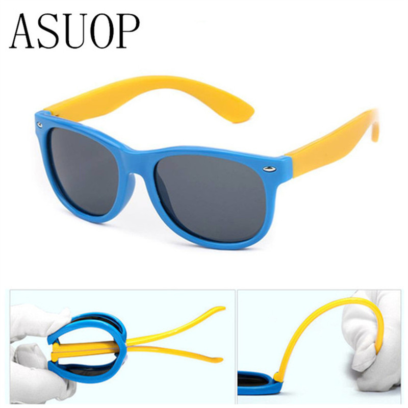 ASUOP 2019 New Kids Silica Soft Solbriller Polariserende Square Boys and Girls Brand Eyeglasses Infant UV400 Breakproof Solbriller
