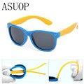 ASUOP 2019 New Silicone Children's Polarizing Sunglasses Square Boys and Girls'Glasses UV400 Brand Design Soft Safety Sunglasses