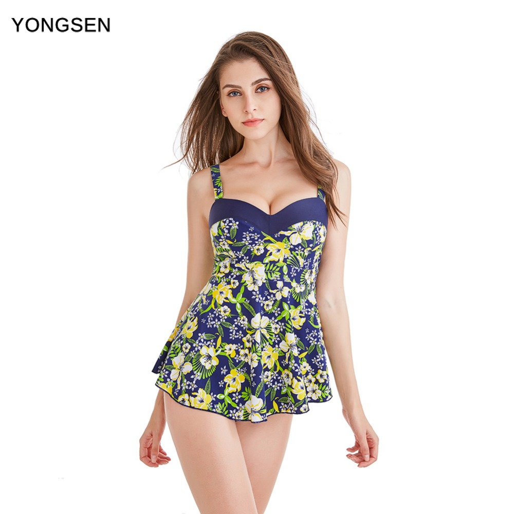 Yongsen جنسي واحد قطعة ملابس السباحة النساء الأخضر ورقة داخلية ضمادة قطع شاطئ المايوه monokini swimsuit