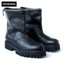 Зима поддельные молния толстая подошва ботинки черного цвета Для мужчин русский Стиль круглый носок слипоны Botas Топ Натуральная кожаные ко