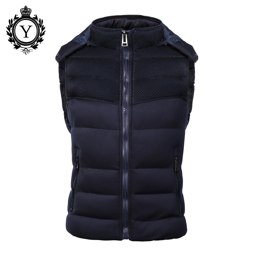 COUTUDI Jachetă populare pentru bărbați Jachetă fără mâneci veste homme Moda de iarnă Casual Coats Barbat cu capișon de bumbac-căptușit Vest pentru bărbați Jos Jakets