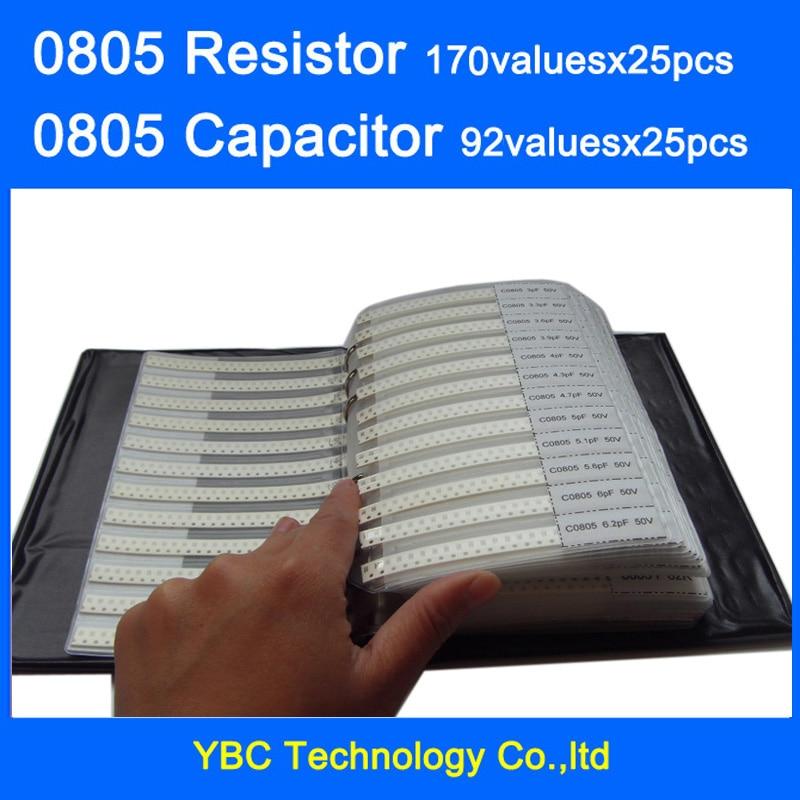 0805 SMD резистор 0R ~ 10 м 1% 170 valuesx25 шт. = 4250 шт. + конденсатор 92valuesx25 шт. = 2300 шт. 0,5 пФ ~ 10 мкФ книга для образцов