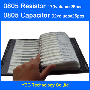 Image 1 - 0805 SMD Resistor 0R~10M 1% 170valuesx25pcs=4250pcs + Capacitor 92valuesX25pcs=2300pcs 0.5PF~10uF Sample Book