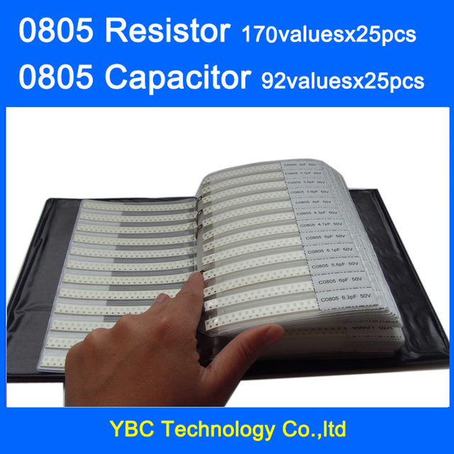 0805 SMD Resistor 0R~10M 1% 170valuesx25pcs=4250pcs + Capacitor 92valuesX25pcs=2300pcs 0.5PF~10uF Sample Book