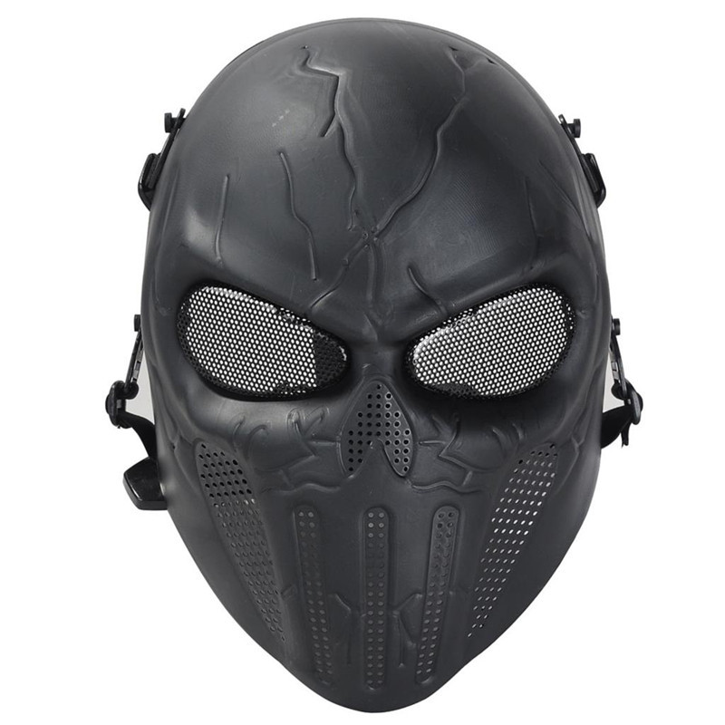 DC12 Punisher Military Army Black Tactical Airsoft Skull Protective Full Face Mask CS Wargame Paintball Cosplay Halloween Party