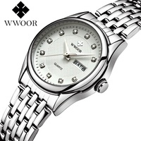 WWOOR Quartz Lady Wrist Watch Stainless Steel Band Brief White Pink Red Dial Women Watches Waterproof