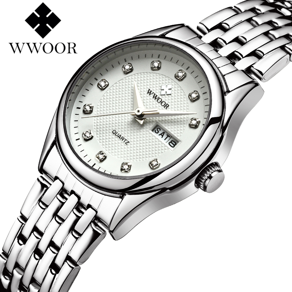 WWOOR Quartz Lady Wrist Watch Stainless Steel Band Brief White/Pink/Red Dial Women Watches Waterproof 2018 Luxury Brand Fashion dinioh lady s stainless steel round dial quartz waterproof wrist watch white silver 1 x lr626