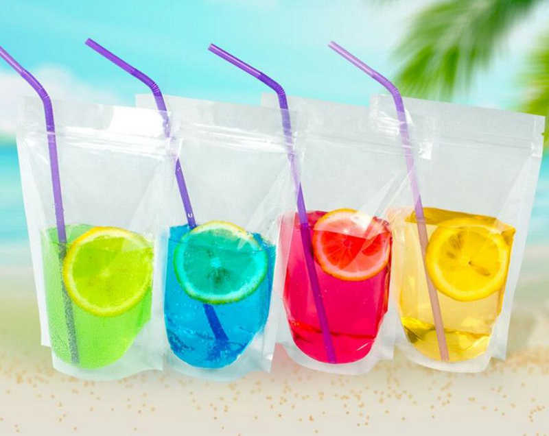 100Pcs Clear Stand-up Beverage Drink Coffee Plastic Packaging Bag, Resealable Zip Lock  Grain Candy Baking Food Pouch