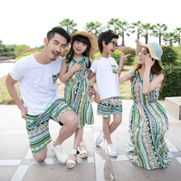 Family Matching Outfits Summer Mom And Daughter Seaside Vacation Beach Long Dress Father And Son T