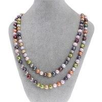 Natürliche Frischwasserperlen Lange Pullover Perlen Stränge Halskette Mode Marke Multi Farbige 9-10mm 47
