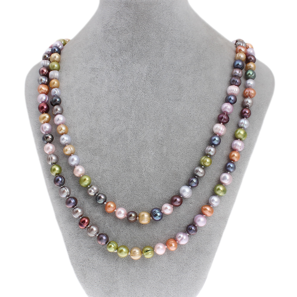 Natural Freshwater Pearl Long Sweater Beads Strands Necklace Fashion Brand Multi Colored 9 10mm 47 Real Pearl Necklace Womens