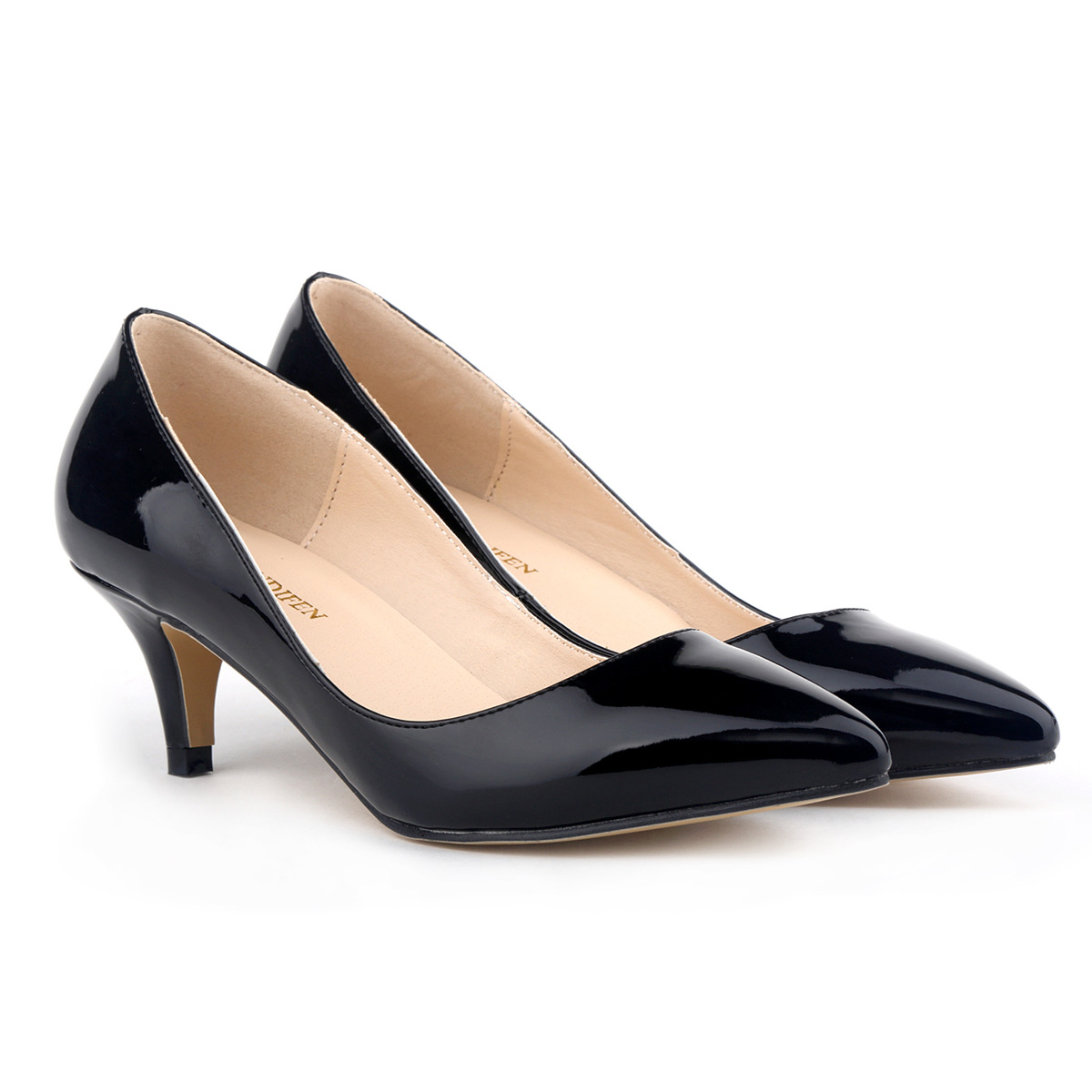 Forever Classic 3 CM High Heels Pumps For Women, Lady's Pointed Toe Thin Heels Shoes,Black/Apricot/Red,Size35 42 low heel