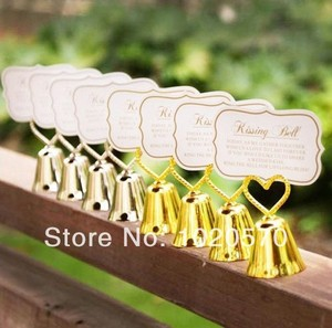 Свадебный держатель для карт серебряного или золотого цвета с надписью «Kissing Bell», 100 шт./лот, бесплатная доставка