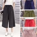 J2FE220#8190 Spring Summer New Female Loose Wide Leg Pants Women Solid Color Chiffon Casual Calf-length Pants