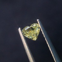 0,337 естественная форма сердца желтый алмаз драгоценные камни Сыпучие камни