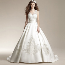 Vestido De Noiva Custom Made White/Ivory Satin Applique Beading Lace Vintage Wedding Dress