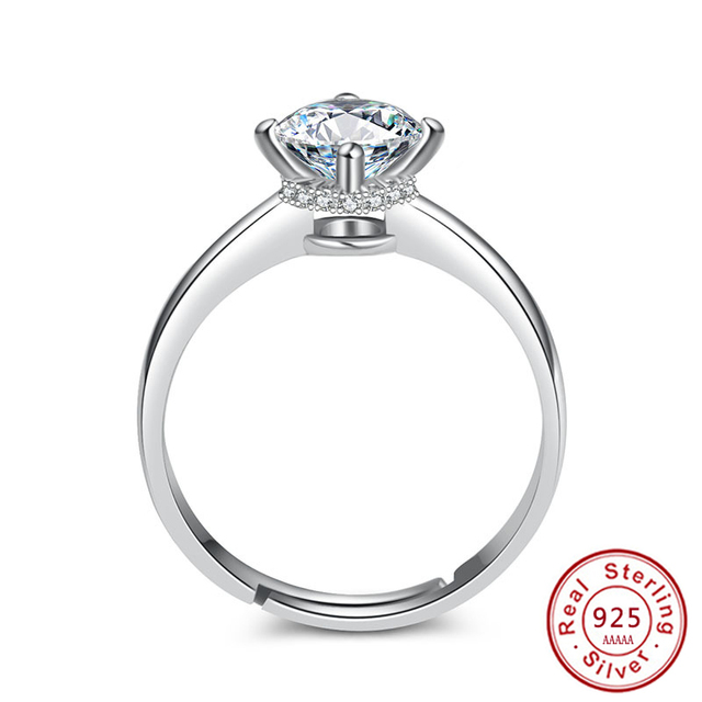 2018 Classic Luxury Solid 925 Sterling Silver Ring 2Ct Zircon Wedding Jewelry ad