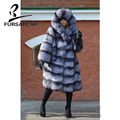FURSARCAR 2019 Fashion Women Real Fur Winter Coat Natural Genuine Silver Fox Large Hooded Female Warm Thick Warm Outwear Colthes