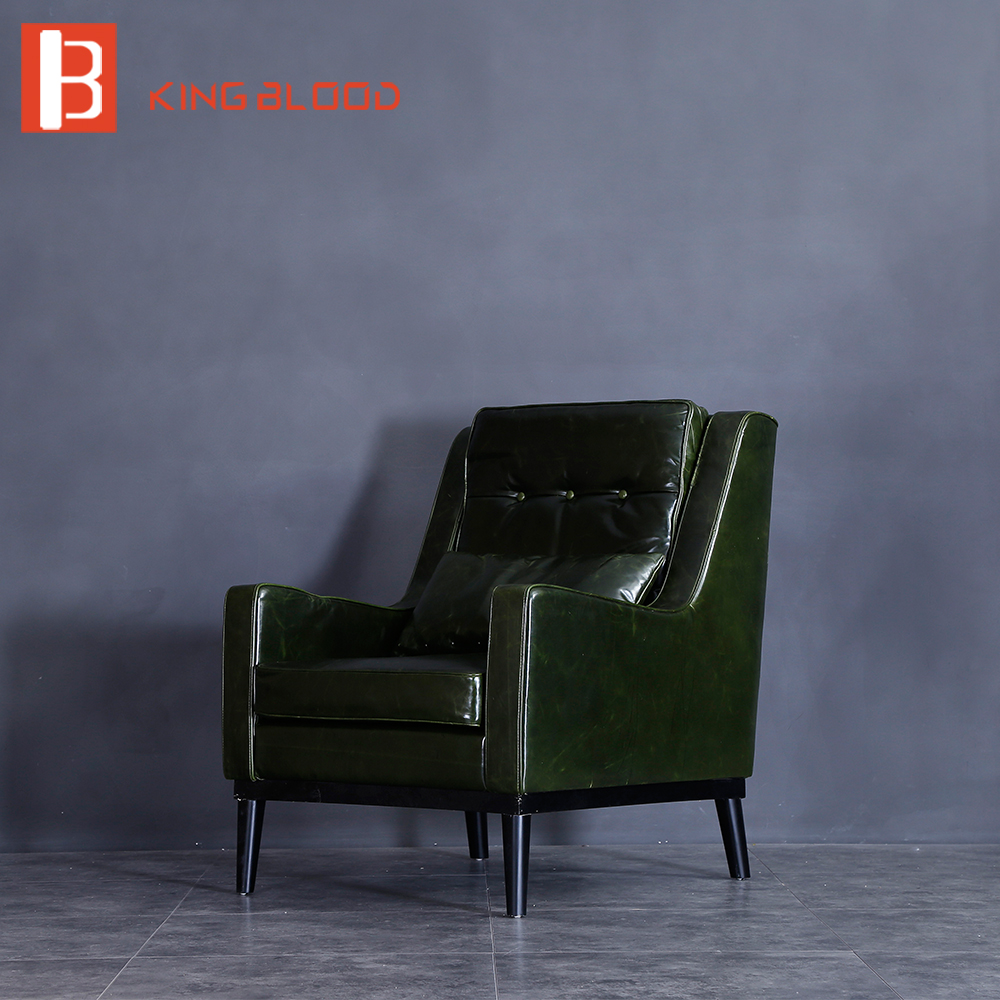 American style classic oil wax PU leather genuine leather single sofa chair armchair image