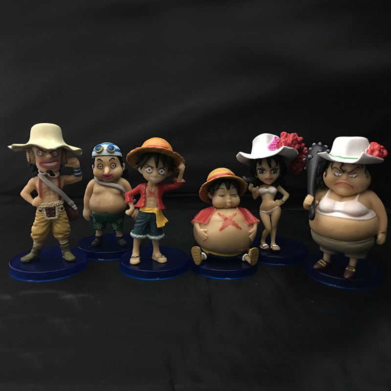 6pcs/set Hot Sale One Piece Monkey D Pvc Anime Figures Packaged Model Toy Gifts Wx432 Agreeable To Taste Luffy Usopp Alvida Action Figure Q Ver