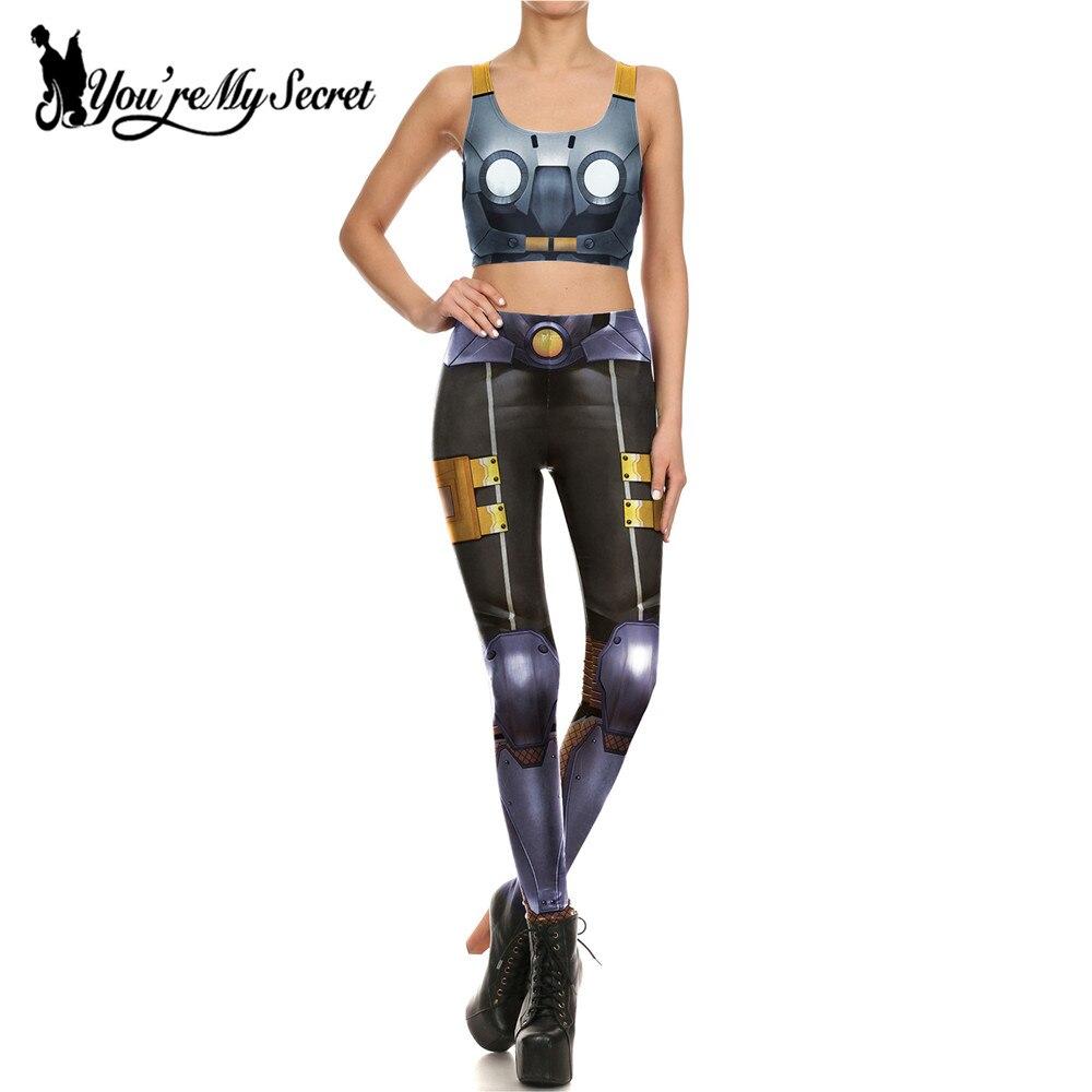 [You're My Secret]Fashion Design Robot Armor Comic Cosplay Bottoms Slim Leggins Women Fitness Leggings And Crop Tops Set