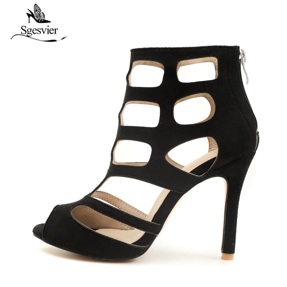 Sgesvier Correas Altos 46 Partido B348 Roma Peep Negro 2018 Zapatos Más Sandalias marrón Sexy Mujer Tacones Verano Cruz púrpura Toe Tamaño Moda Cremallera rwvr46qIF