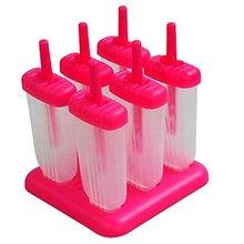 Forma de Rectángulo de $ number celdas Reutilizable DIY Frozen Ice Cream Lolly Pop Moldes Helados Fabricantes con Base (Rose red)