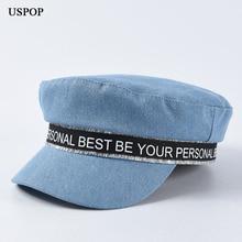 USPOP 2019 newsboy caps for women flat top denim visor letter fashion military octagonal hats