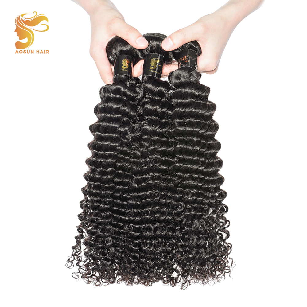 AOSUN HAIR Peruvian Hair Deep Wave Bundle Deals 100% Natural Human Hair Weaves Remy Hair Bundles Can Be Dyed 8-28 Available ...