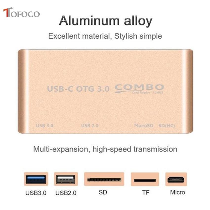 TOFOCO USB 3,1 type C-USB 3,0 концентратор SD TF устройство для чтения карт памяти OTG адаптер usb type C-USB 3,0 концентратор для Xiaomi Tablet