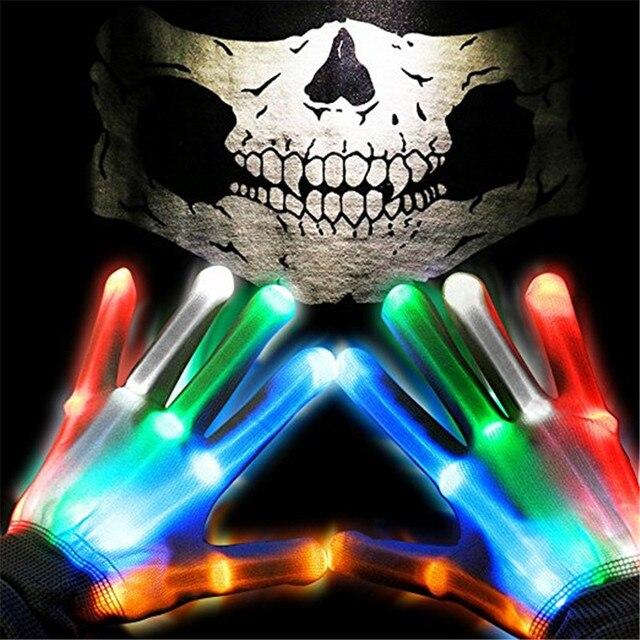 LED Gloves, Light up Rave Gloves, Glow In The Dark LED Skeleton Gloves