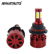 2pcs 4 Sides LED H13 9008 9007 HB5 HB3 9006 Auto Car Headlight Bulbs 45W 6000LM White for COB chips Styling led automotivo