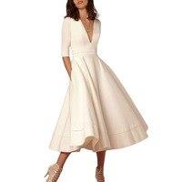 אלגנטיות ארוכות שמלות נשים האופנה חדשה 2018 קיץ בתוספת גודל Midi שמלת V צוואר חצי שרוול Slim גבירותיי שמלות שחור לבן ורוד