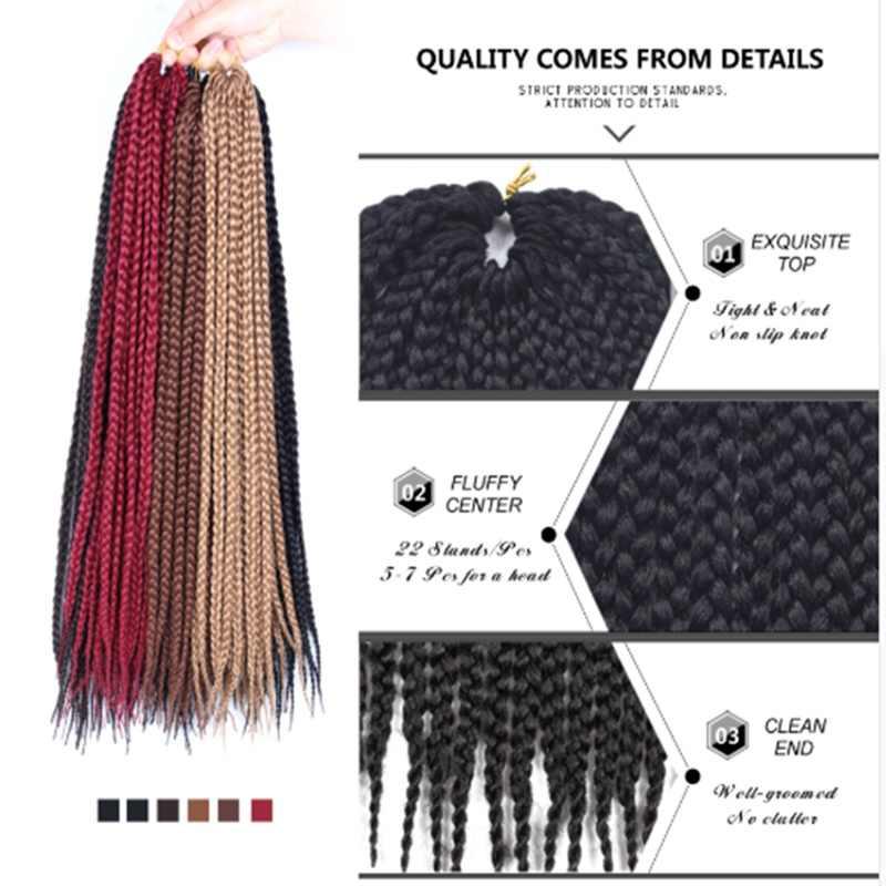 Desire for hair 22 strands 14 18 24inch thin small box braids synthetic braiding hair extensions crochet braids black 27# grey