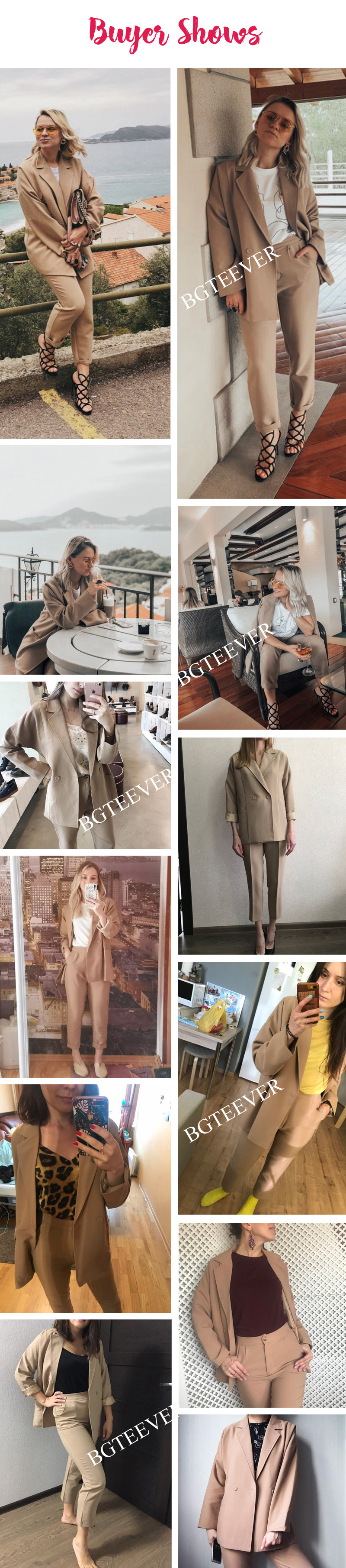BGTEEVER Casual Solid Women Pant Suits Notched Collar Blazer Jacket & Pencil Pant Khaki Female Suit Autumn 19 high quality 3
