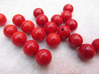 Half Drilled Red Salmon Coral Jewelry Round beads, pink coral ,Red Coral Beads Coral Lucite Pink coral cabochon 24pcs 7 12mm