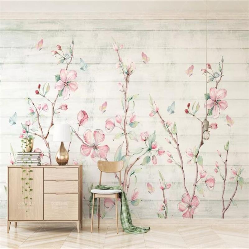 Beibehang Custom Wallpaper Mural Fresh Hand-painted Watercolor Cherry Wood Grain Butterfly Flower TV Background 3d Wallpaper